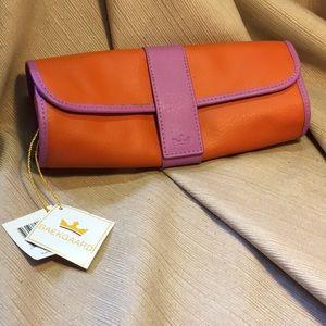 NWT Baekgaard leather jewelry roll cosmetic bag